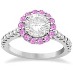 Halo Diamond & Pink Sapphire Engagement Ring 14K White Gold (1.16ct)