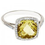 Cushion Lemon Quartz & Diamond Cocktail Ring 14k White Gold (3.70ct)