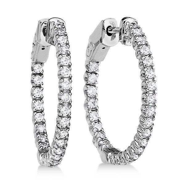 Allurez Prong-Set Diamond Hoop Earrings in 14k White Gold