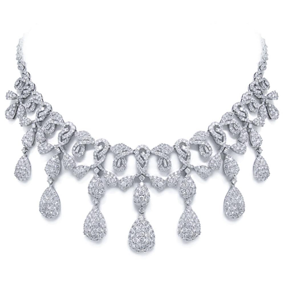 Allurez 25.45ct 18k White Gold Diamond Necklace