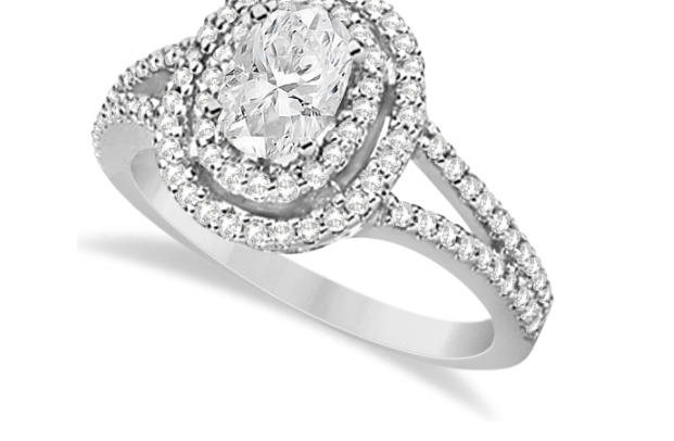 Allurez's Double Halo Diamond ans Moissanite Engagement Ring in 14K White Gold.