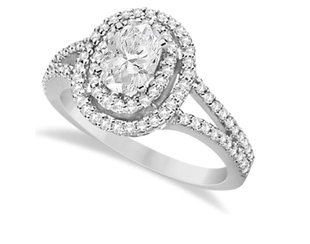 Allurez's Double Halo Diamond ans Moissanite Engagement Ring in 14K White Gold.
