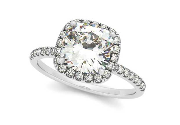 Cushion Diamond Halo Engagement Ring French Pave 14k W. Gold 0.70ct.