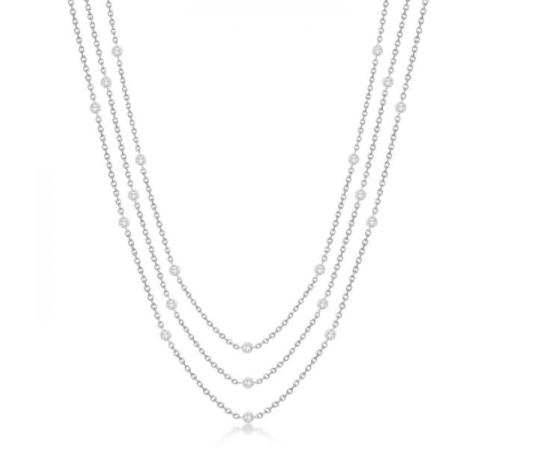 Three-Strand Diamond Station Necklace in 14k White Gold from Allurez.