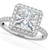 Princess Cut Halo Moissanite & Diamond Engagement Ring 14K White Gold 3.35ct by Allurez.