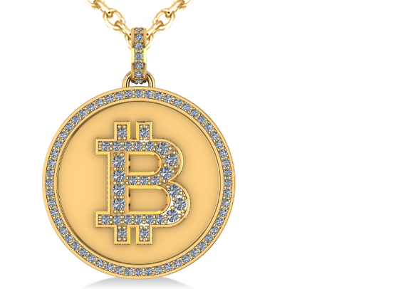 Large Diamond Bitcoin Pendant Necklace in 14k Yellow Gold by Allurez.
