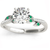 Emerald & Diamond Vine Leaf Engagement Ring Setting 14K White Gold by Allurez.