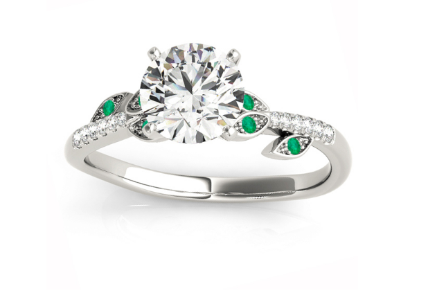 Emerald & Diamond Vine Leaf Engagement Ring Setting 14K White Gold by Allurez.