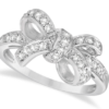 Pave Set Diamond Bow Tie Fashion Ring in 14k White Gold by Allurez.