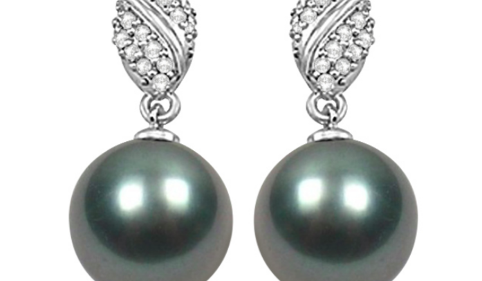 Tahitian Cultured Pearl & Diamond Drop Earrings 14K White Gold 12mm by Allurez.