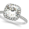 Cushion Diamond Halo Engagement Ring French Pave 14k W. Gold 0.70ct by Allurez.