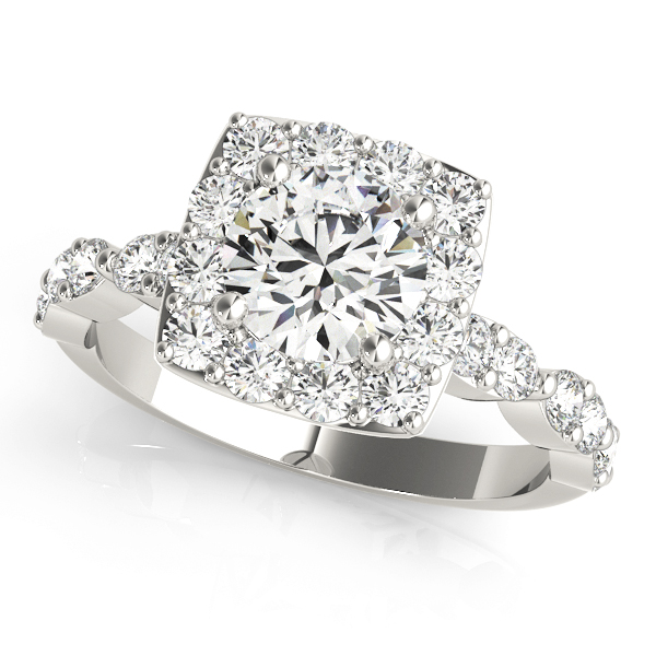 Diamond Sidestone Square Halo Engagement Ring 14k White Gold by Allurez.