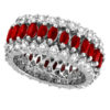Marquise Ruby and Diamond Eternity Ring 14k White Gold by Allurez.