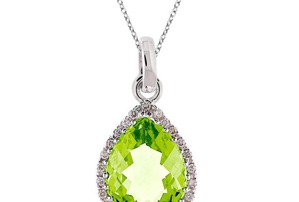 Pear Shaped Peridot and Diamond Pendant Necklace 14k White Gold by Allurez.