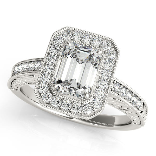Antique Emerald Cut Diamond Engagement Ring 14k White Gold (1.80ct) by Allurez.