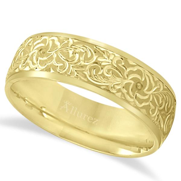 Hand-Engraved Flower Wedding Ring Wide Band 14k Yellow Gold (7mm) by Allurez.