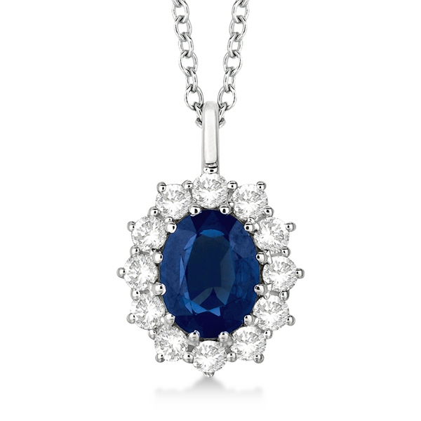 Oval Blue Sapphire & Diamond Pendant Necklace 14k White Gold (3.60ctw) by Allurez.
