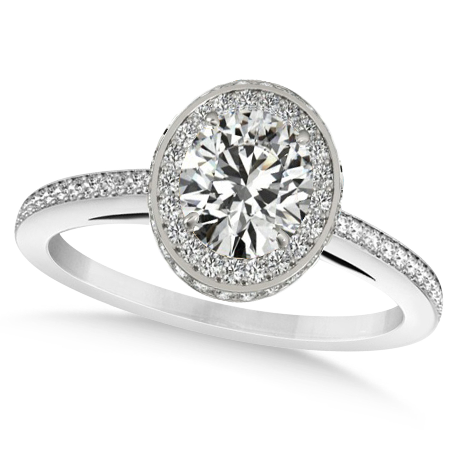 Oval diamond halo engagement ring 14K white gold (1.71CT) by Allurez.