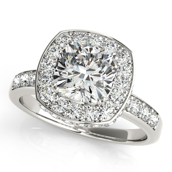 Cushion cut halo diamond engagement ring 14k white gold (1.34CT) by Allurez.