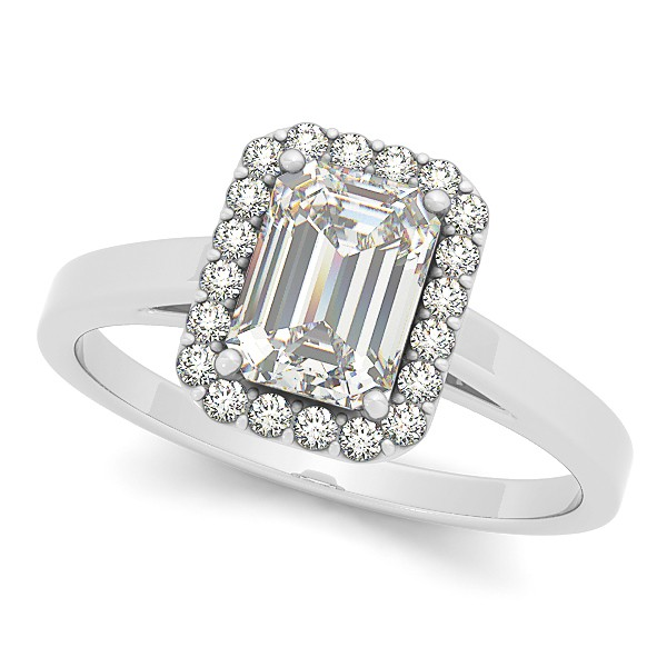 Emerald cut diamond halo engagement ring in 14k white gold (1.17ct) by Allurez.