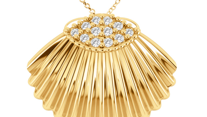 Seashell Diamond Pendant 14k Yellow Gold (0.18ct) by Allurez.