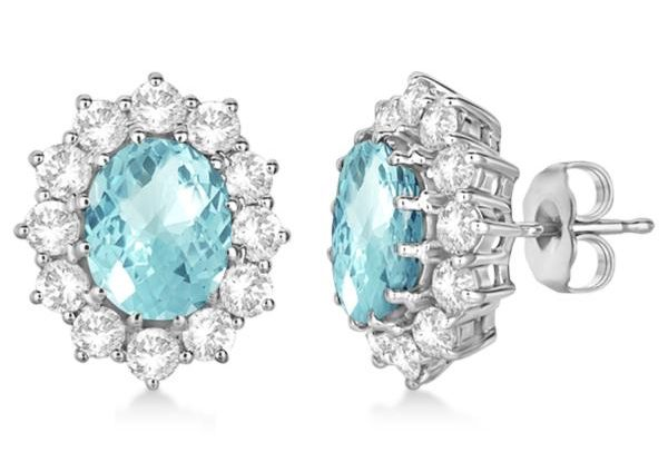 Oval Aquamarine & Diamond Accented Earrings 14k White Gold (7.10ctw) by Allurez.