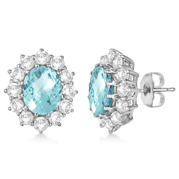 Oval Aquamarine & Diamond Accented Earrings 14k White Gold (7.10ctw) by Allurez.