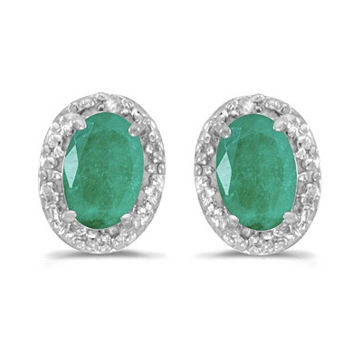 Diamond and Emerald Earrings in 14k White Gold by Allurez.