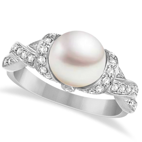 Freshwater Cultured Pearl & Diamond Ring 14k White Gold .25ctw (8mm) by Allurez.