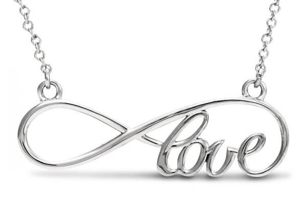 Women's Script Love Infinity Pendant Necklace 14k White Gold by Allurez.