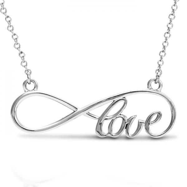 Women's Script Love Infinity Pendant Necklace 14k White Gold by Allurez.