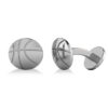 Round Basketball Cuff Links 14K White Gold by Allurez.