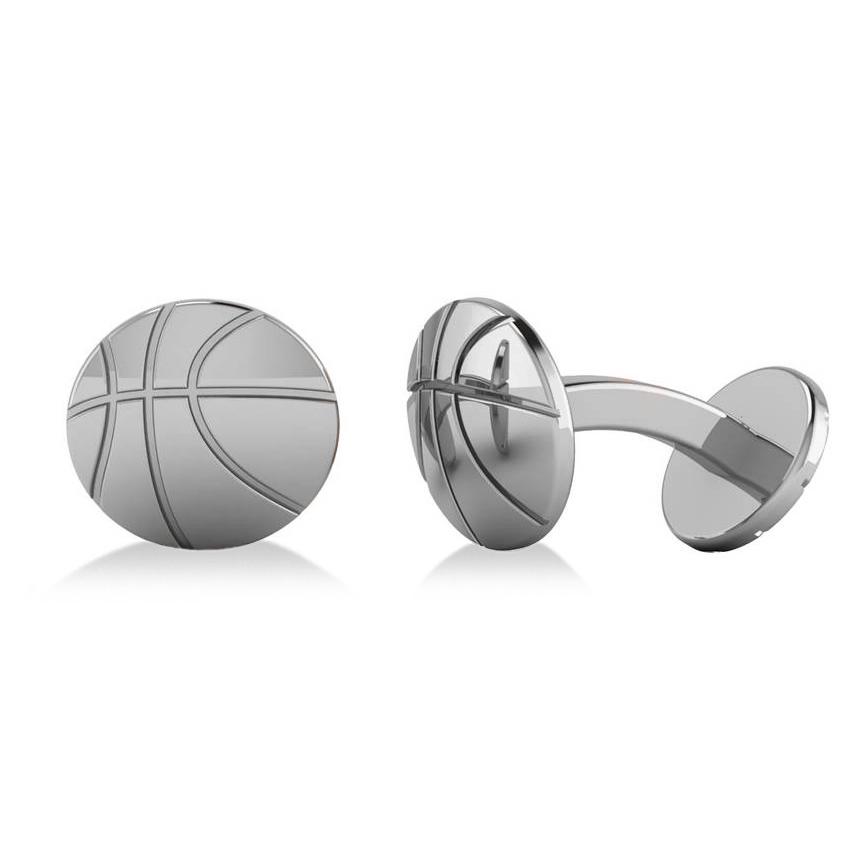 Round Basketball Cuff Links 14K White Gold by Allurez.