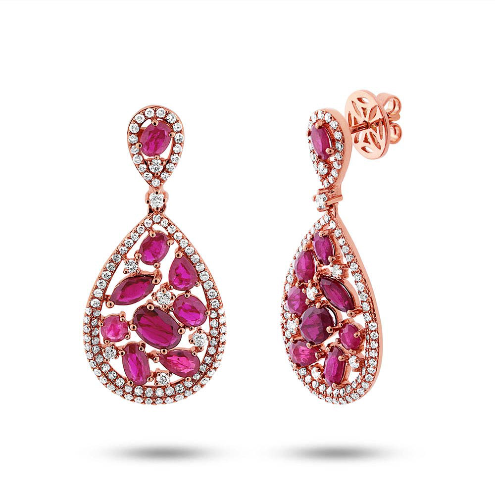 1.09ct Diamond & 4.38ct Ruby 14k Rose Gold Earrings by Allurez.