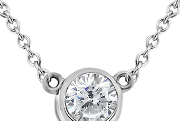 Bezel-Set Solitaire Pendant Setting in Platinum by Allurez.