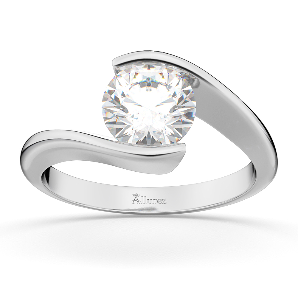 Tension Set Swirl Solitaire Engagement Ring Setting Platinum by Allurez.