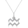 Aquarius Zodiac Diamond Pendant Necklace 14k White Gold (0.15ct) by Allurez.