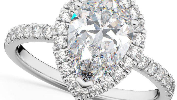 Pear Cut Halo Moissanite & Diamond Engagement Ring 14K White Gold 2.44ct by Allurez.