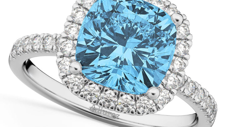 Cushion Cut Halo Blue Topaz & Diamond Engagement Ring 14k White Gold by Allurez.