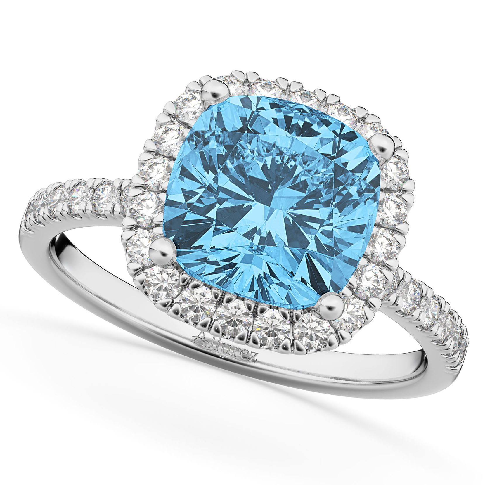 Cushion Cut Halo Blue Topaz & Diamond Engagement Ring 14k White Gold by Allurez.