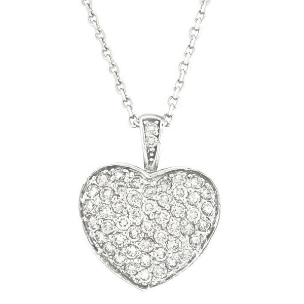Diamond Puffed Heart Pendant Necklace in 14k White Gold (1.30ctw).