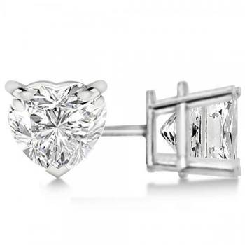 Heart-cut diamond stud earrings by Allurez.