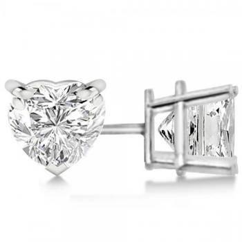 Heart-cut diamond stud earrings by Allurez.