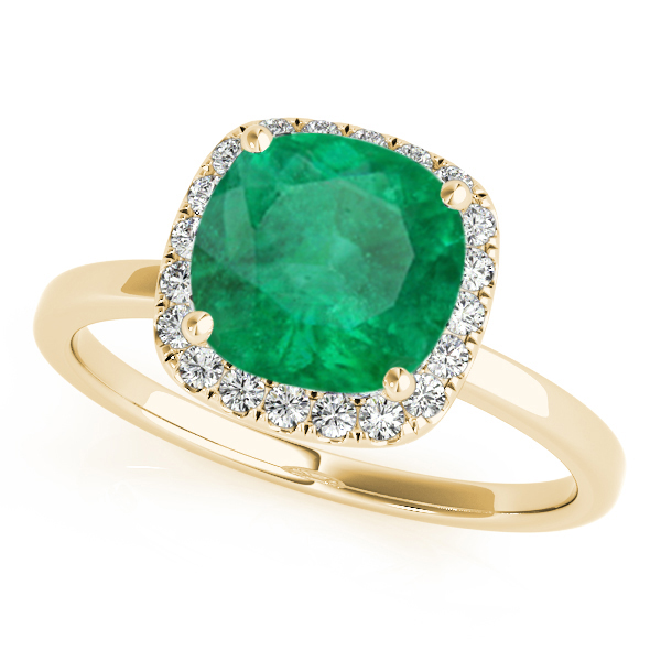 Cushion Emerald & Diamond Halo Engagement Ring 14k Yellow Gold (1.00ct) by Allurez.