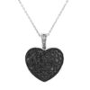 Black Diamond Puffed Heart Pendant in 14k White Gold by Allurez.
