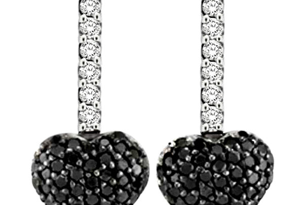 Black & White Diamond Puffed Heart Earrings in 14k White Gold by Allurez.