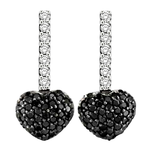 Black & White Diamond Puffed Heart Earrings in 14k White Gold from Allurez.