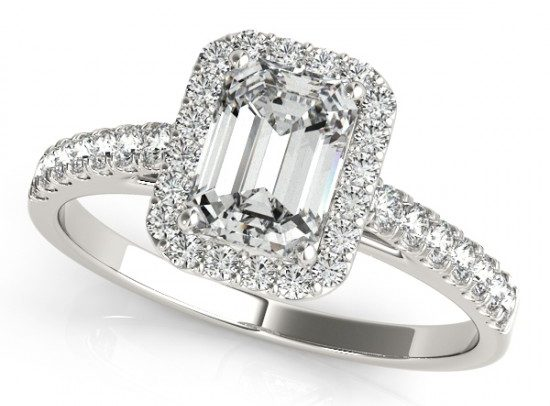 Diamond Halo Emerald-Cut Engagement Ring 14k White Gold by Allurez.