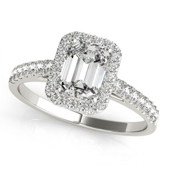 Diamond Halo Emerald-Cut Engagement Ring 14k White Gold by Allurez.
