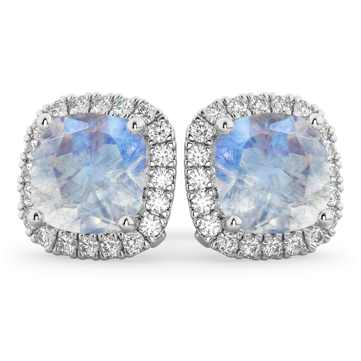 Halo Cushion Moonstone & Diamond Earrings 14k White Gold by Allurez.